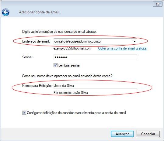 Configurando o Windows Live Mail em sua hospedagem Innova Host - Passo 3