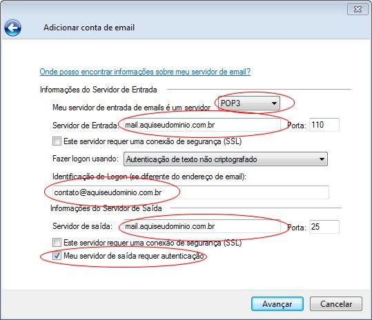 Configurando o Windows Live Mail em sua hospedagem Innova Host - Passo 5